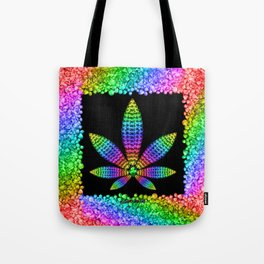 Rainbow Gems Cannabis Leaf Tote Bag