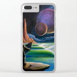 Cosmic Surf Scene Clear iPhone Case