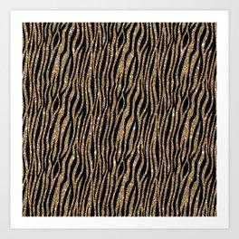 Black & Gold Glitter Animal Print Art Print