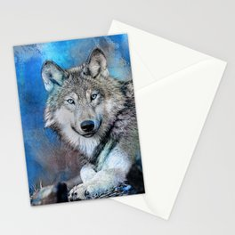 Blue Wolf Wildlife Mixed Media Art Stationery Cards