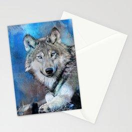 Blue Wolf Wildlife Mixed Media Art Stationery Cards
