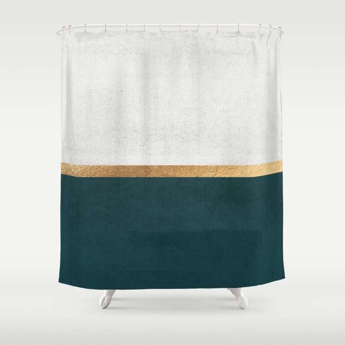 Deep Green Gold And White Color Block Shower Curtain