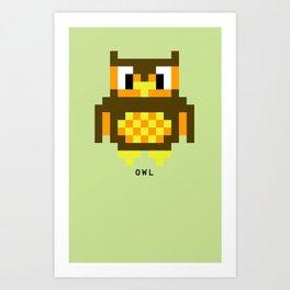 8 Bit Owl Art Print
