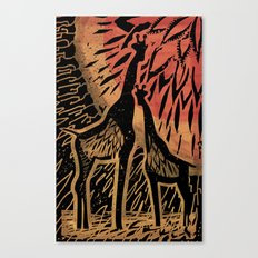 Giraffe Color Sunset Canvas Print