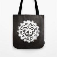 koala Tote Bags featuring Koala by Ronan Lynam
