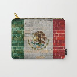 Mexico flag on a brick wall Carry-All Pouch
