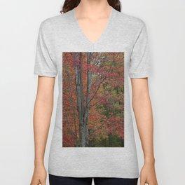 Fall Tree - Red - Square Unisex V-Neck