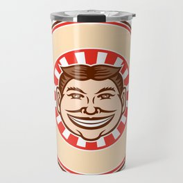 Grinning Funny Face Mascot Circle Retro Travel Mug