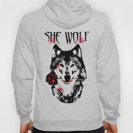 Wolf blood stained, holding a red rose. Hoody