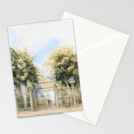 Franz Alt - View of a Biedermeier house, people promenading in front of it - Digital Remastered Edition Stationery Cards