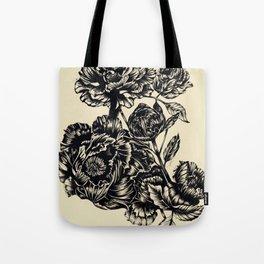 Peonies, black & white Tote Bag