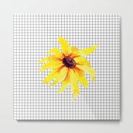 Watercolor Flower on Grid Metal Print