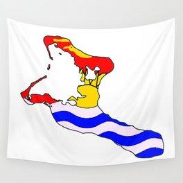 Kiribati Map with Flag of Kiribati Islands Wall Tapestry