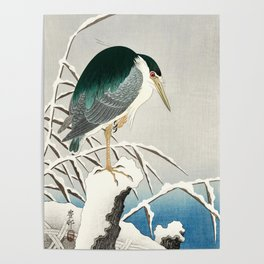 Heron in snow - Japanese vintage woodblock print art Poster