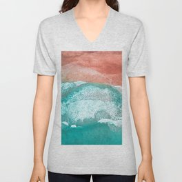 The Break - Turquoise Sea Pastel Pink Beach III Unisex V-Neck