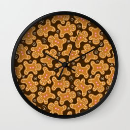 Gingerbread Men Pattern Wall Clock