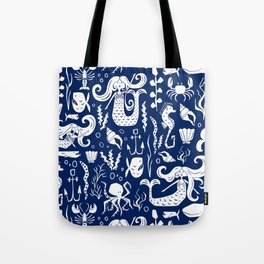 Under The Sea Navy Blue Tote Bag