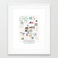 maryland Framed Art Prints featuring Frederick, Maryland by Eine Kleine Design Studio