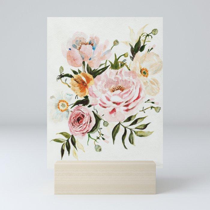 Loose Peonies & Poppies Floral Bouquet Mini Art Print