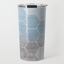 honeycomb winter forest // copper & blue Travel Mug