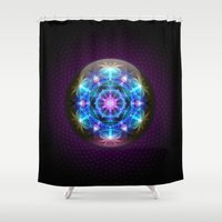 fibonacci Shower Curtains featuring Fibonacci Flower Mandala by Mushroom Dreams