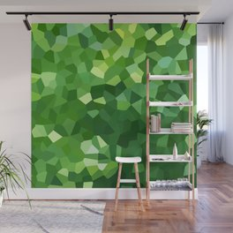 Green Polygon Shape Stained Glass Mosaic Abstract Wall Mural