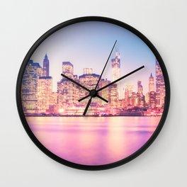 New York City Skyline - Lights Wall Clock