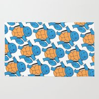 pokeball Area & Throw Rugs featuring  1 Squirtle, 2 Squirtle, 3 Squirtle, 4 by pkarnold + The Cult Print Shop