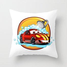 Funny cartoon Car wash  Throw Pillow