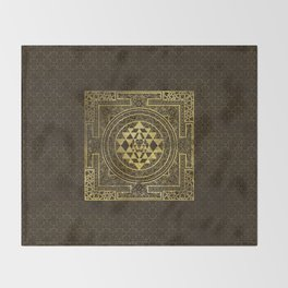 Gold Sri Yantra  / Sri Chakra Throw Blanket