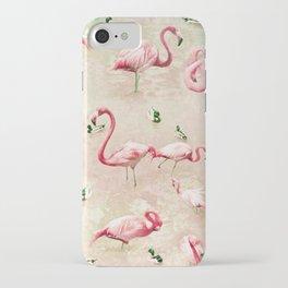 Flamingos Vintage Pink  iPhone Case