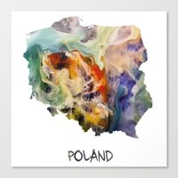 poland Canvas Prints featuring Map of Poland watercolor by jbjart