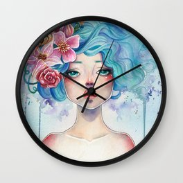 Blue Hair Wall Clock