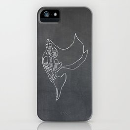 Pterodactyl Dinosaur (A.K.A Flying Reptile - Pterodactylus) Butcher Meat Diagram iPhone Case