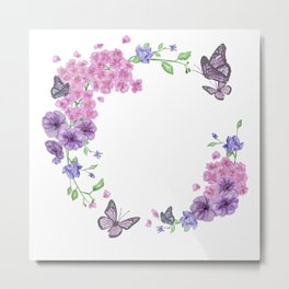 Butterfly And Flowers Violet Circle Metal Print