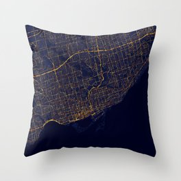 Toronto, Canada - City At Night Throw Pillow