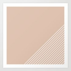 White & Pink Stripes Art Print