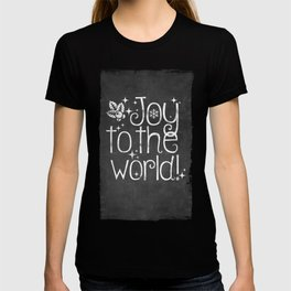 Joy to the world chalkboard christmas lettering T-shirt