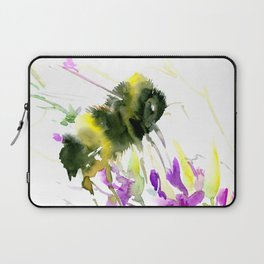 Bumblebee and Flowers floral bee design Laptop Sleeve