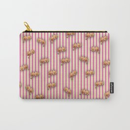 Stripes and Dahlias Carry-All Pouch