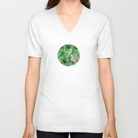 clover V-neck T-shirts featuring Clover Patch by Geni