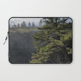 Beside The Falls, Beautiful Old Pine Tree Stands Sentry Beside A Watefall Laptop Sleeve