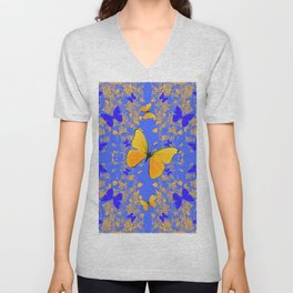 BLUE GOLD BUTTERFLIES PANORAMA ABSTRACT Unisex V-Neck