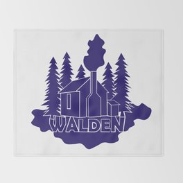 Walden - Henry David Thoreau (Blue version) Throw Blanket
