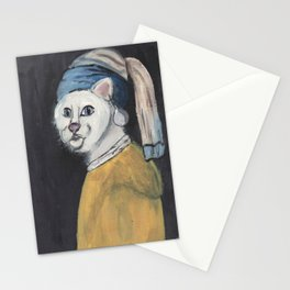 cat with a pearl earring Stationery Cards