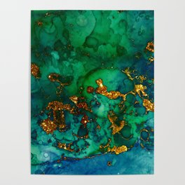 Emerald And Blue Glitter Marble Poster