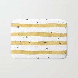 Modern hand painted yellow gold black watercolor splatters stripes Bath Mat