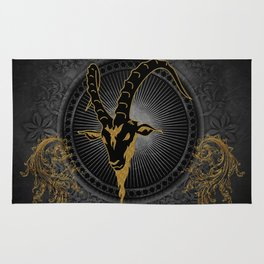 Billygoat in black and gold Rug