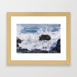 Sea Spray on the Rocks Framed Art Print