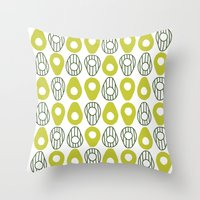 avocado Throw Pillows featuring Avocado by curious creatures